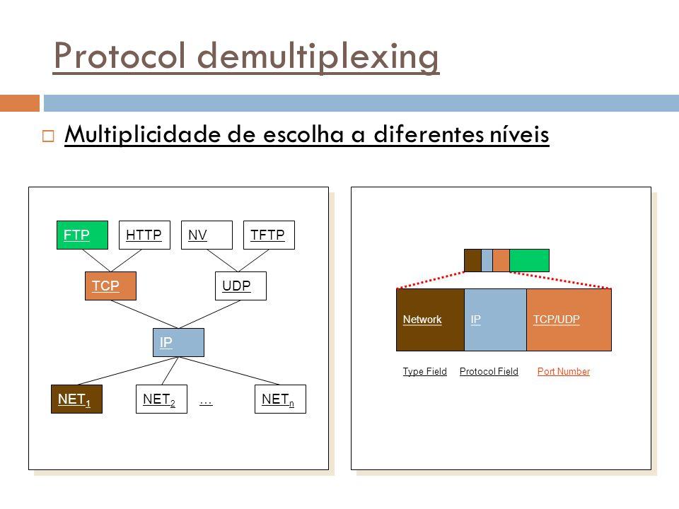 37 Protocol demultiplexing Multiplicidade de escolha a diferentes níveis FTPHTTPTFTPNV TCPUDP IP NET 1 NET 2 NET n … TCP/UDPIP Port Number Network Protocol FieldType Field