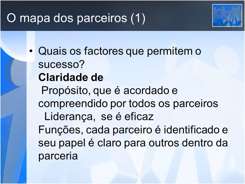 O mapa dos parceiros (1) Quais os factores que permitem o sucesso? Claridade de Propósito, que é acordado e compreendido por todos os parceiros Lidera
