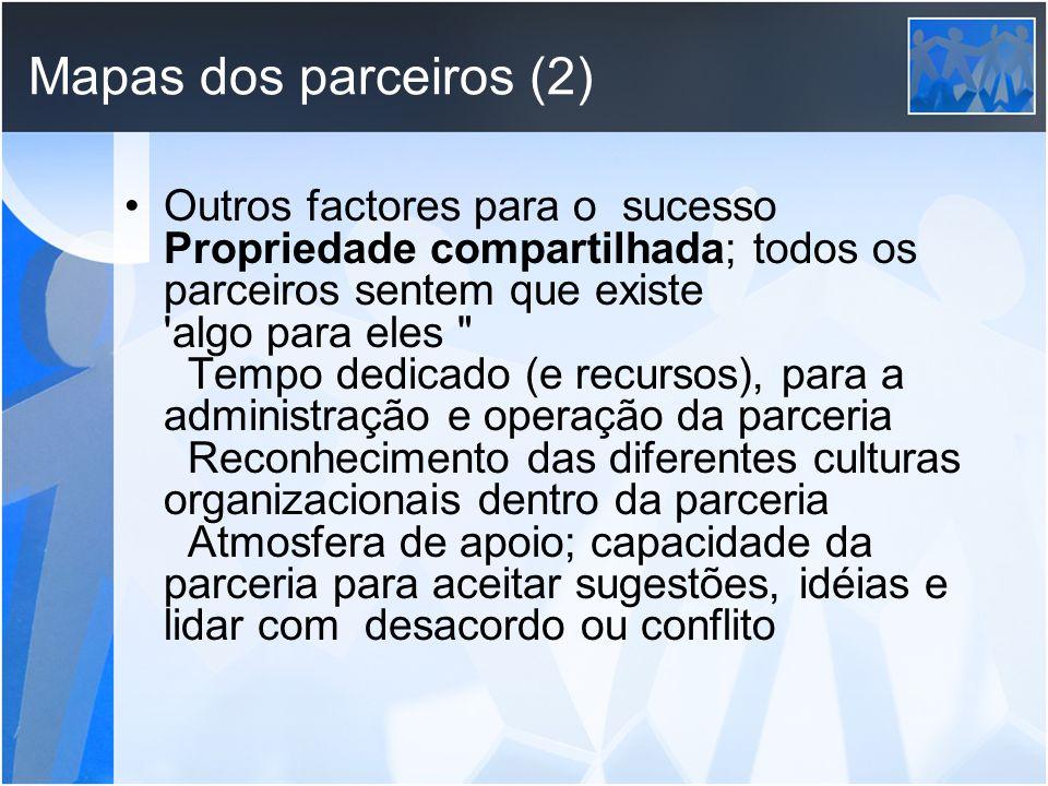 Mapas dos parceiros (2) Outros factores para o sucesso Propriedade compartilhada; todos os parceiros sentem que existe 'algo para eles