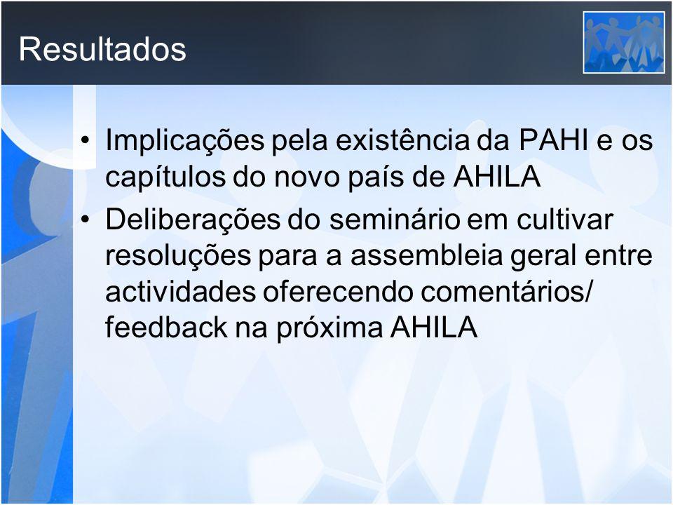 Resultados Implicações pela existência da PAHI e os capítulos do novo país de AHILA Deliberações do seminário em cultivar resoluções para a assembleia
