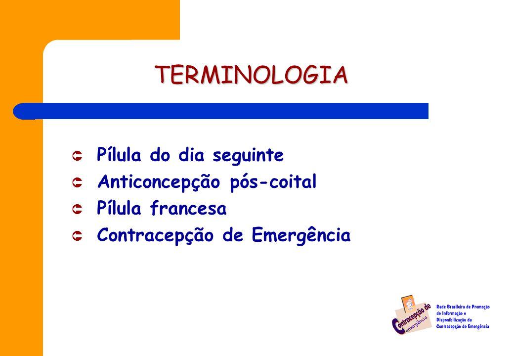 TERMINOLOGIA Û Pílula do dia seguinte Û Anticoncepção pós-coital Pílula francesa Û Contracepção de Emergência