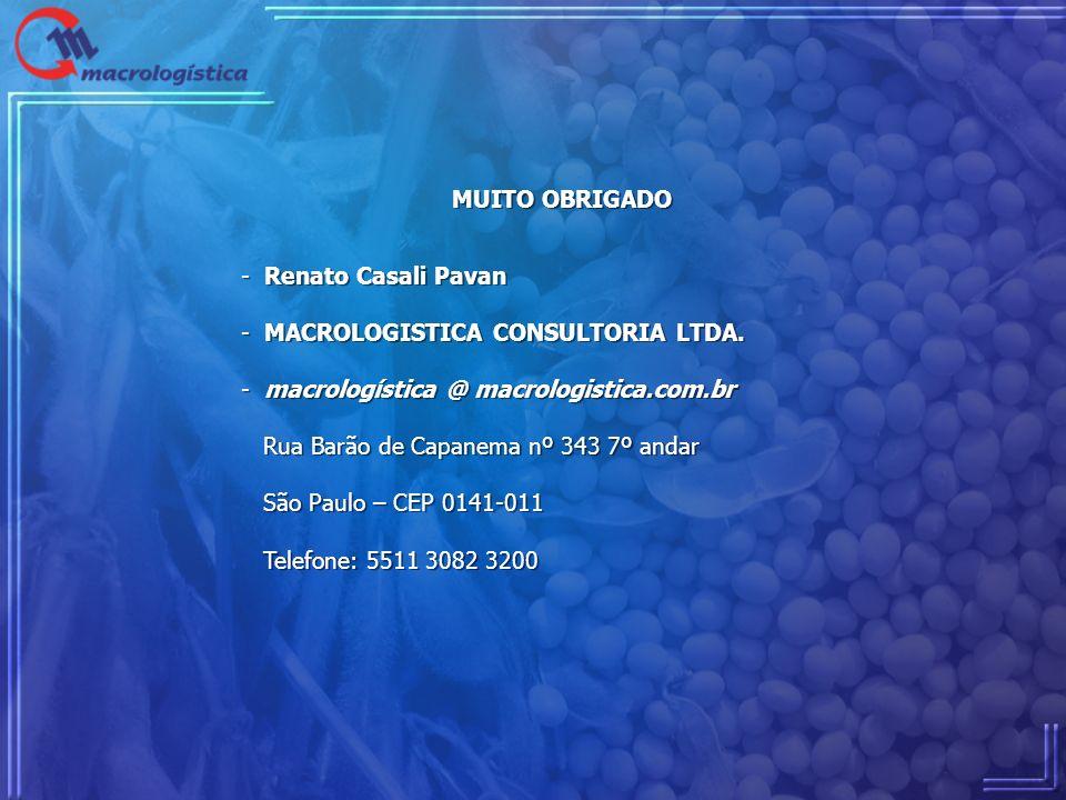 MUITO OBRIGADO - Renato Casali Pavan - MACROLOGISTICA CONSULTORIA LTDA. - macrologística @ macrologistica.com.br Rua Barão de Capanema nº 343 7º andar