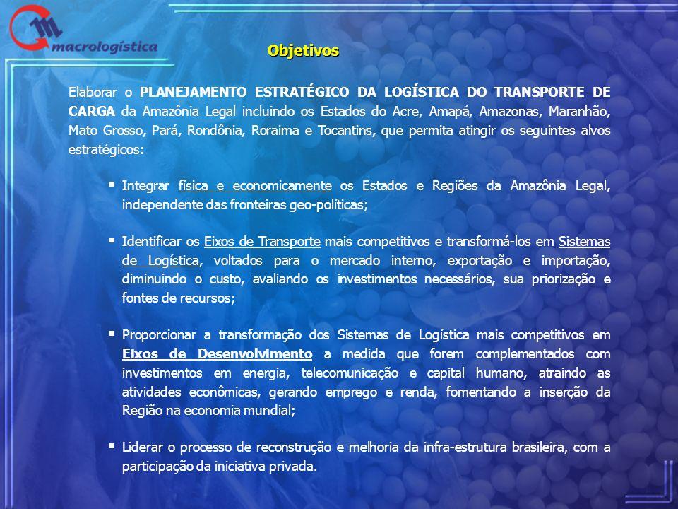 Objetivos Elaborar o PLANEJAMENTO ESTRATÉGICO DA LOGÍSTICA DO TRANSPORTE DE CARGA da Amazônia Legal incluindo os Estados do Acre, Amapá, Amazonas, Mar