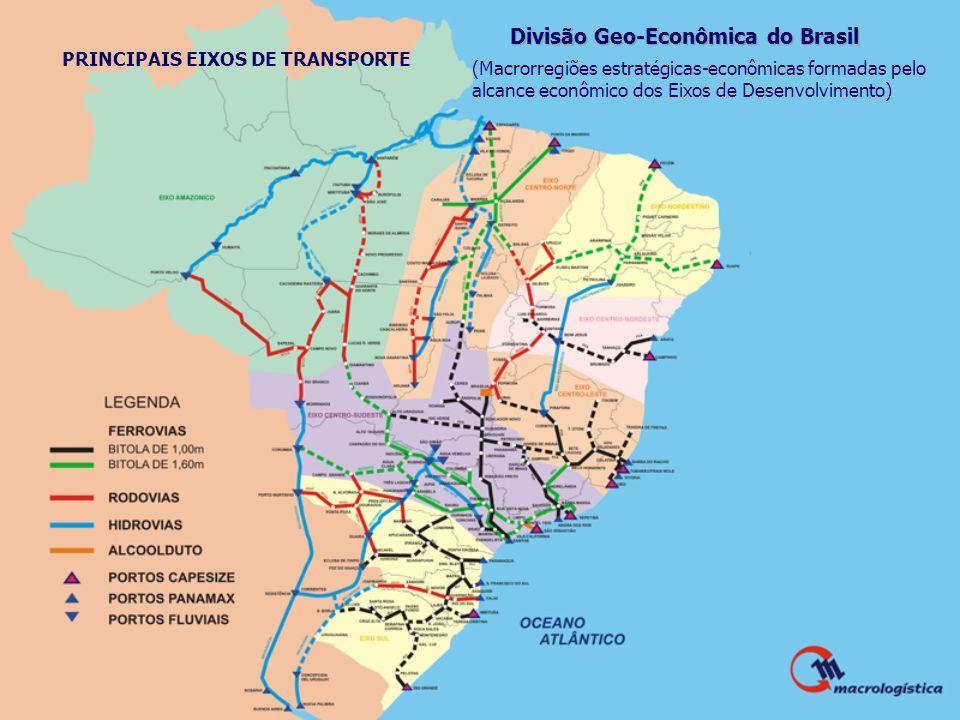 Divisão Geo-Econômica do Brasil (Macrorregiões estratégicas-econômicas formadas pelo alcance econômico dos Eixos de Desenvolvimento) PRINCIPAIS EIXOS