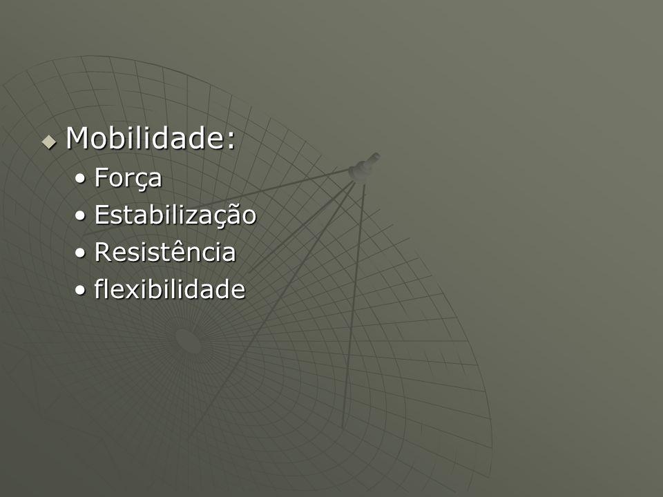 Mobilidade: Mobilidade: ForçaForça EstabilizaçãoEstabilização ResistênciaResistência flexibilidadeflexibilidade