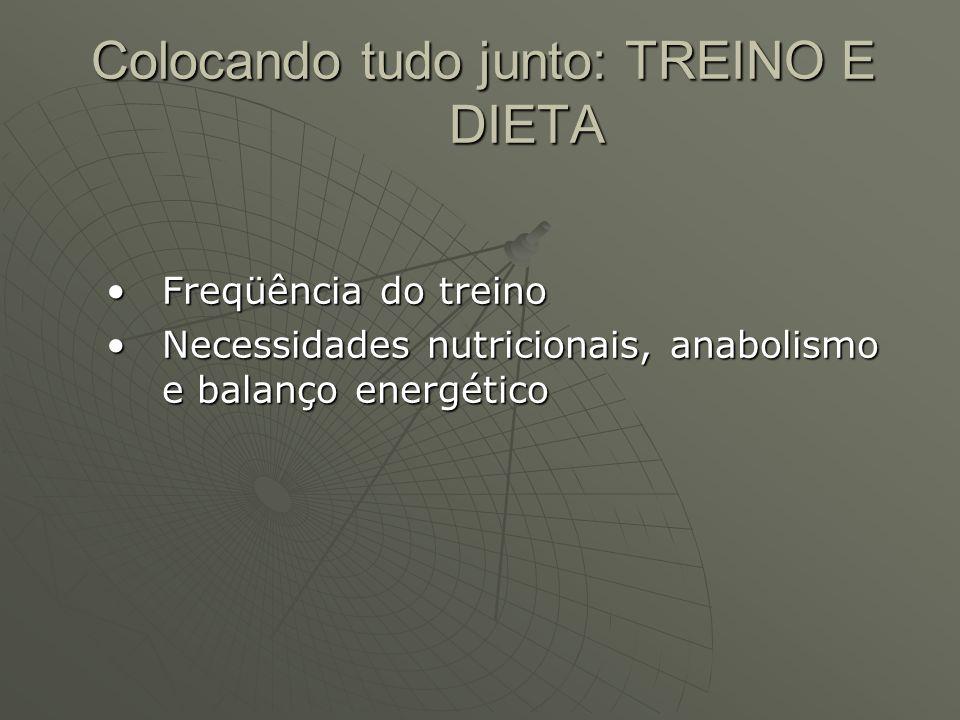 Colocando tudo junto: TREINO E DIETA Freqüência do treinoFreqüência do treino Necessidades nutricionais, anabolismo e balanço energéticoNecessidades n