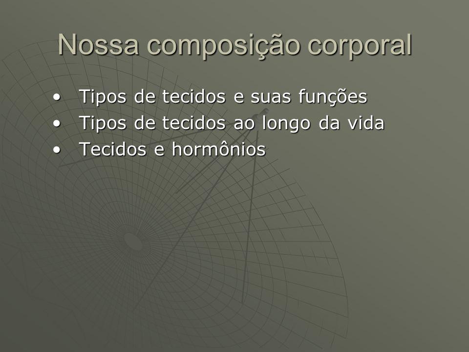 Nossa composição corporal Tipos de tecidos e suas funçõesTipos de tecidos e suas funções Tipos de tecidos ao longo da vidaTipos de tecidos ao longo da