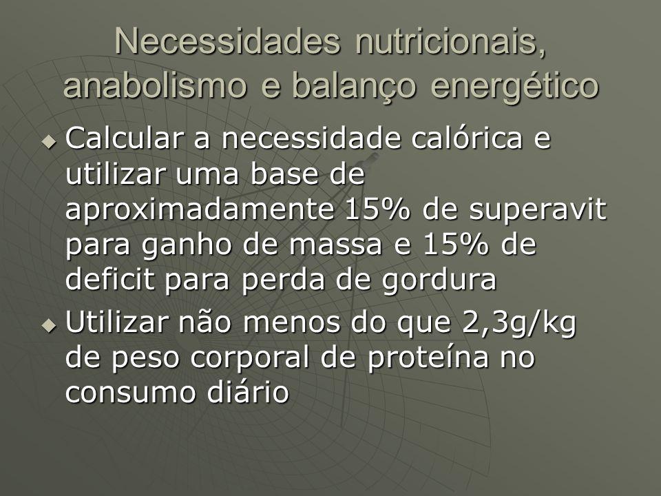 Necessidades nutricionais, anabolismo e balanço energético Calcular a necessidade calórica e utilizar uma base de aproximadamente 15% de superavit par