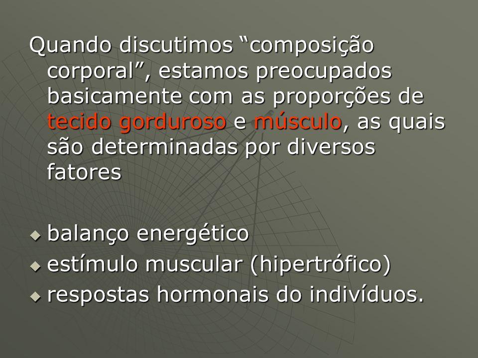 Composição corporal e demandas O estímulo hipertrófico O estímulo hipertrófico Sobrecarga e adaptação muscularSobrecarga e adaptação muscular Micro-lesão adaptativaMicro-lesão adaptativa A curva de supercompensaçãoA curva de supercompensação o estímulo cardio-vascular o estímulo cardio-vascular VO2maxVO2max Condicionamento cardio-vascular e adaptações fisiológicasCondicionamento cardio-vascular e adaptações fisiológicas stress stress endocrinologia do stressendocrinologia do stress