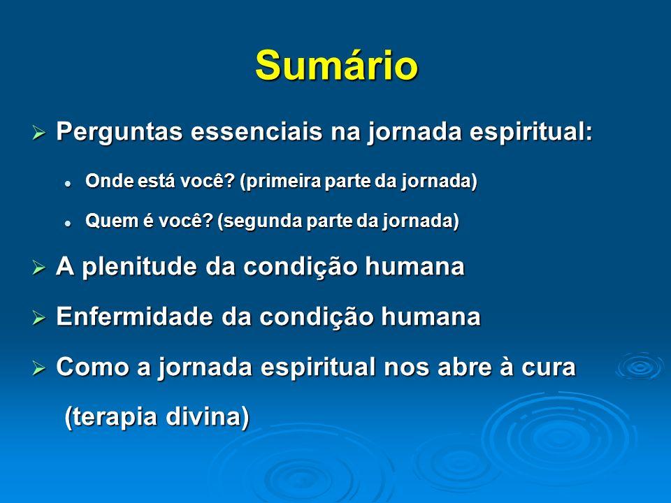 Sumário Perguntas essenciais na jornada espiritual: Perguntas essenciais na jornada espiritual: Onde está você? (primeira parte da jornada) Onde está