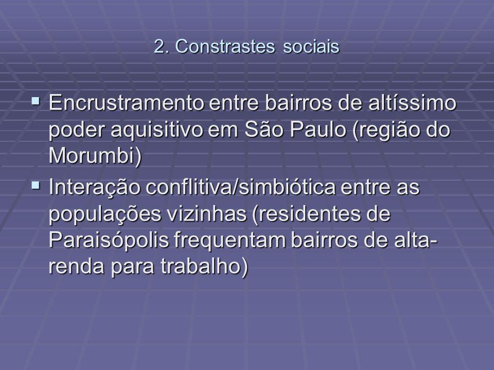 2. Constrastes sociais Encrustramento entre bairros de altíssimo poder aquisitivo em São Paulo (região do Morumbi) Encrustramento entre bairros de alt
