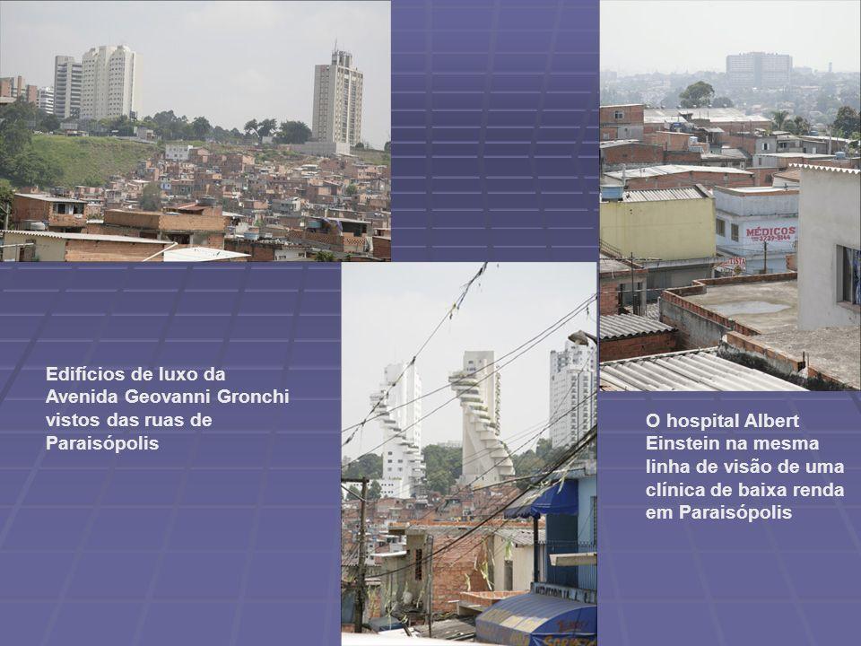 O hospital Albert Einstein na mesma linha de visão de uma clínica de baixa renda em Paraisópolis Edifícios de luxo da Avenida Geovanni Gronchi vistos