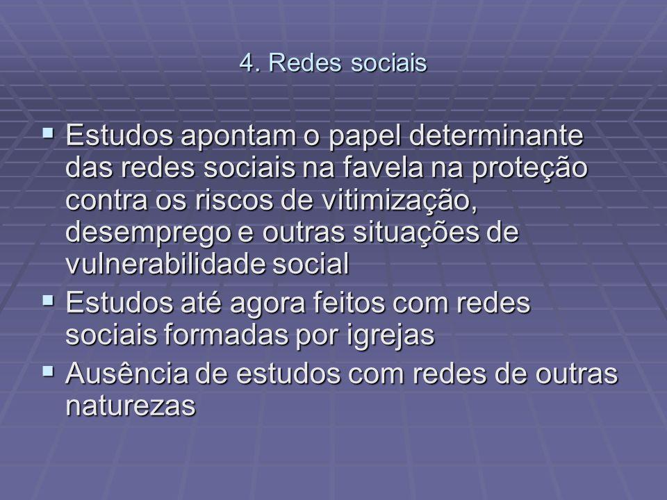 4. Redes sociais Estudos apontam o papel determinante das redes sociais na favela na proteção contra os riscos de vitimização, desemprego e outras sit