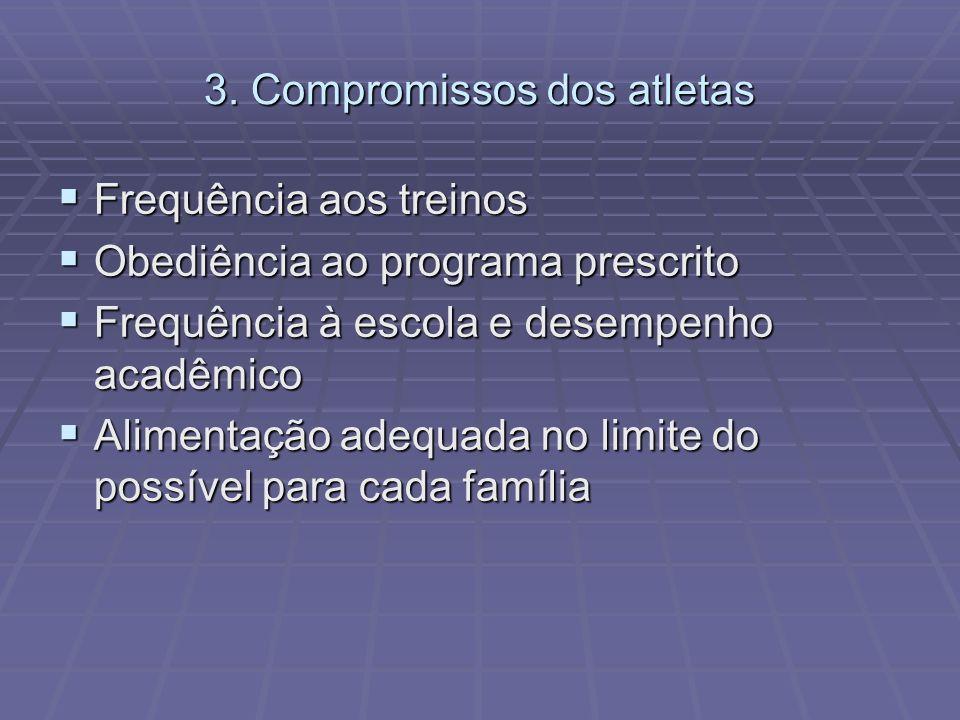 3. Compromissos dos atletas Frequência aos treinos Frequência aos treinos Obediência ao programa prescrito Obediência ao programa prescrito Frequência