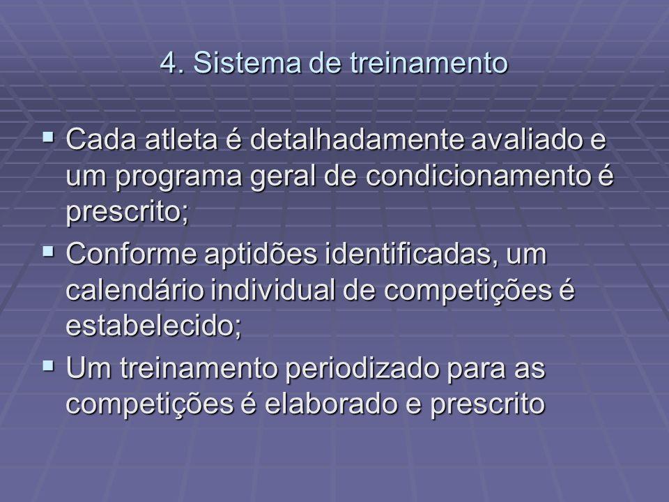 4. Sistema de treinamento Cada atleta é detalhadamente avaliado e um programa geral de condicionamento é prescrito; Cada atleta é detalhadamente avali