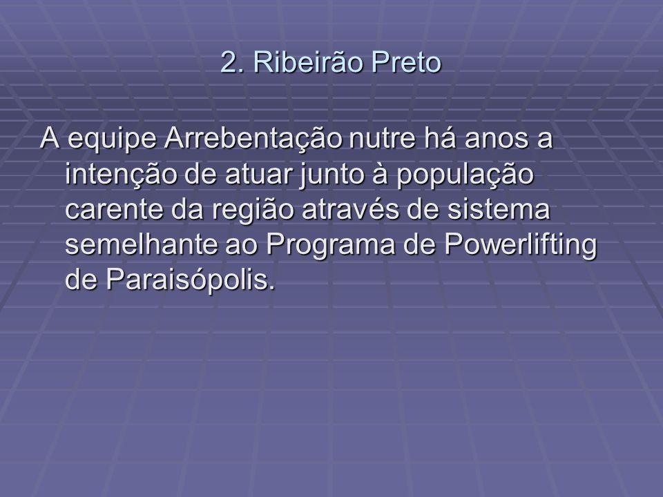 2. Ribeirão Preto A equipe Arrebentação nutre há anos a intenção de atuar junto à população carente da região através de sistema semelhante ao Program