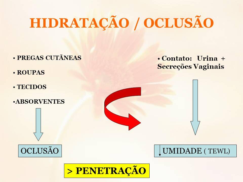 HIDRATAÇÃO / OCLUSÃO PREGAS CUTÃNEAS ROUPAS TECIDOS ABSORVENTES OCLUSÃO Contato: Urina + Secreções Vaginais UMIDADE ( TEWL) > PENETRAÇÃO