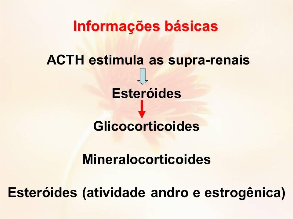 ACTH estimula as supra-renais Esteróides Glicocorticoides Mineralocorticoides Esteróides (atividade andro e estrogênica) Informações básicas