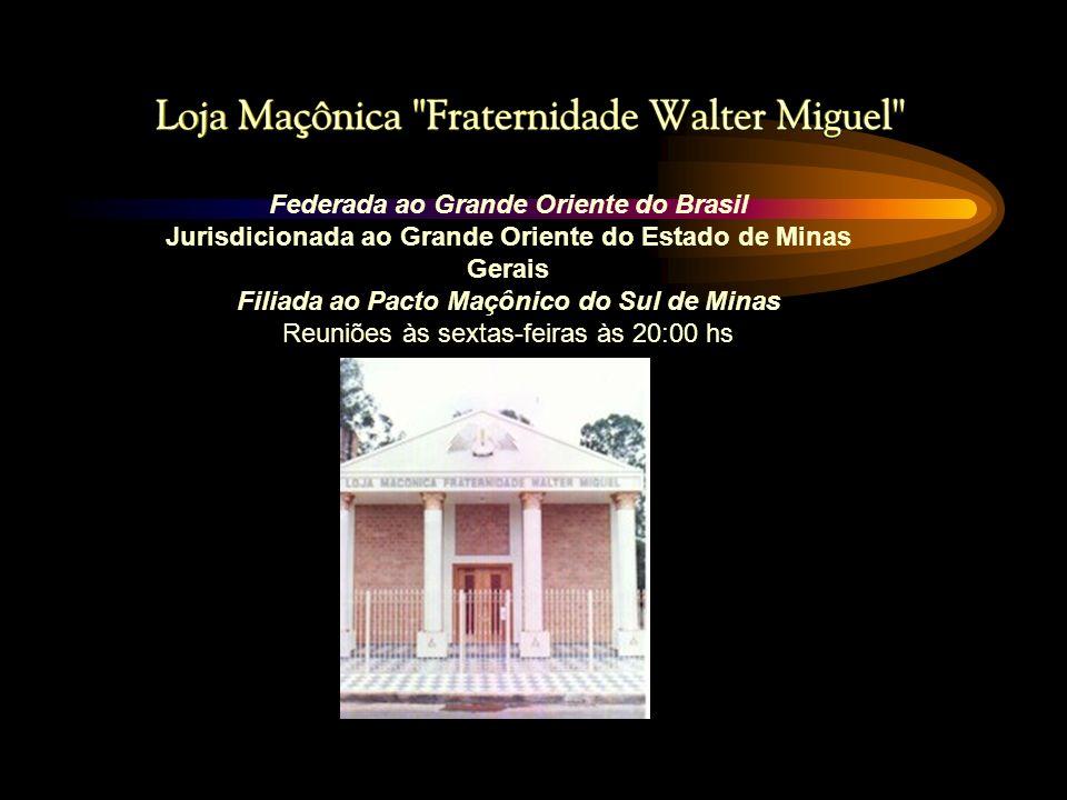 Nosso Patrono: O nome da Loja é uma homenagem ao saudoso Irmão Walter Miguel, nascido em Serrania-MG, filho do Irmão Waldemar Miguel e de Conceição Ap