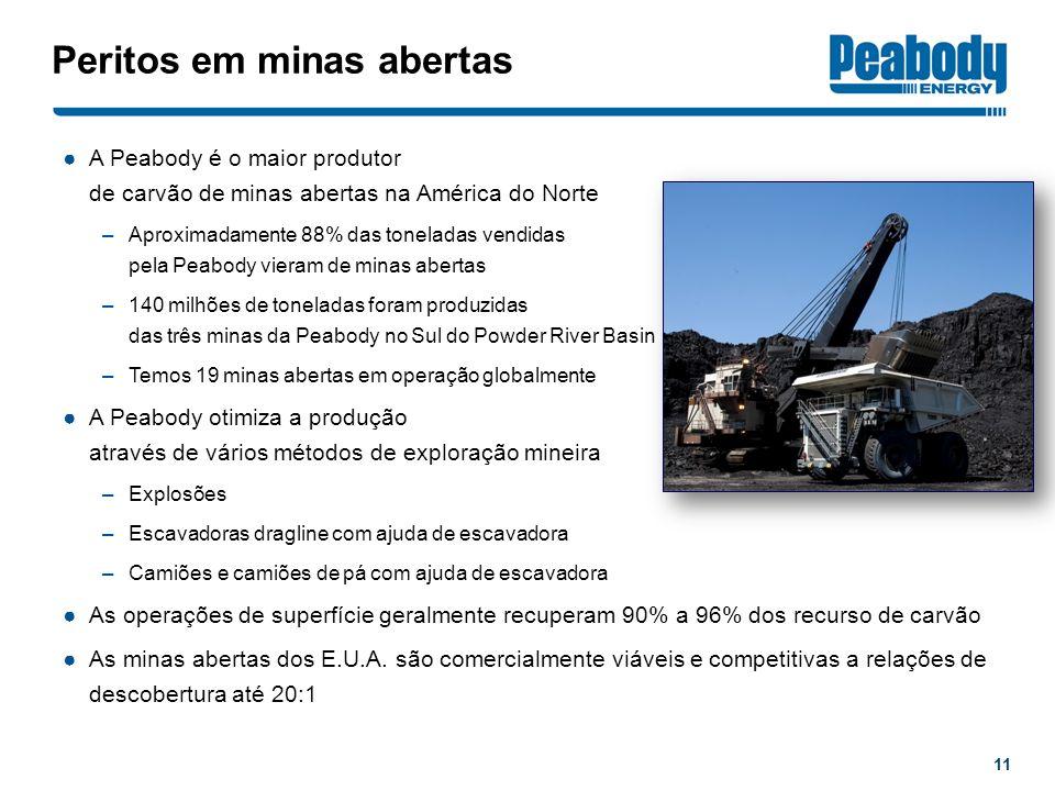 Peritos em minas abertas A Peabody é o maior produtor de carvão de minas abertas na América do Norte –Aproximadamente 88% das toneladas vendidas pela