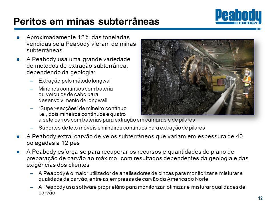 Peritos em minas subterrâneas Aproximadamente 12% das toneladas vendidas pela Peabody vieram de minas subterrâneas A Peabody usa uma grande variedade