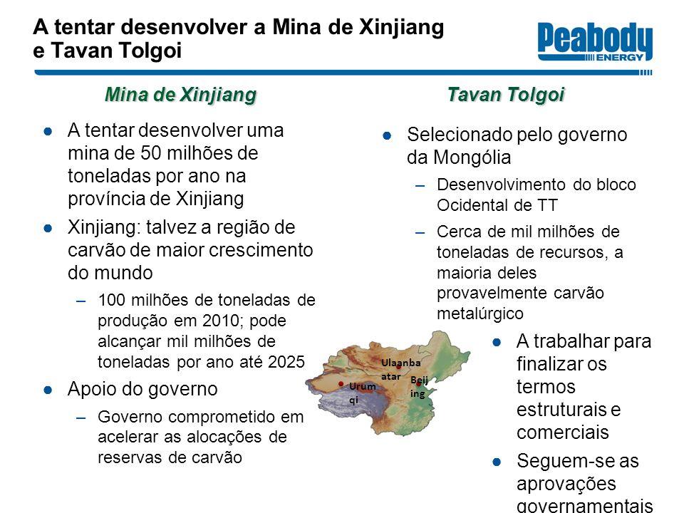 A tentar desenvolver uma mina de 50 milhões de toneladas por ano na província de Xinjiang Xinjiang: talvez a região de carvão de maior crescimento do