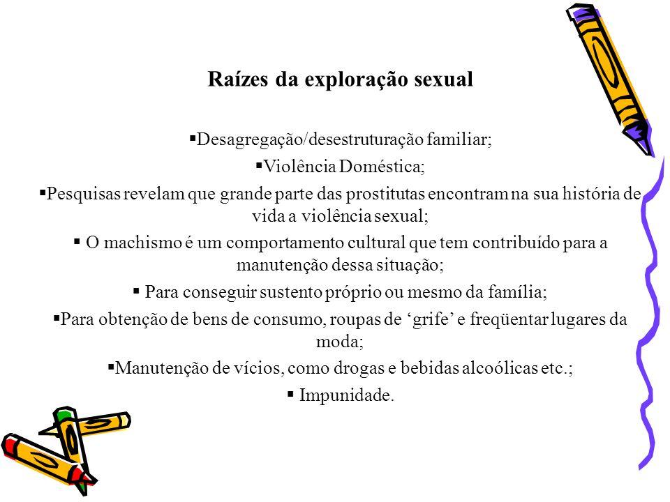 Raízes da exploração sexual Desagregação/desestruturação familiar; Violência Doméstica; Pesquisas revelam que grande parte das prostitutas encontram n