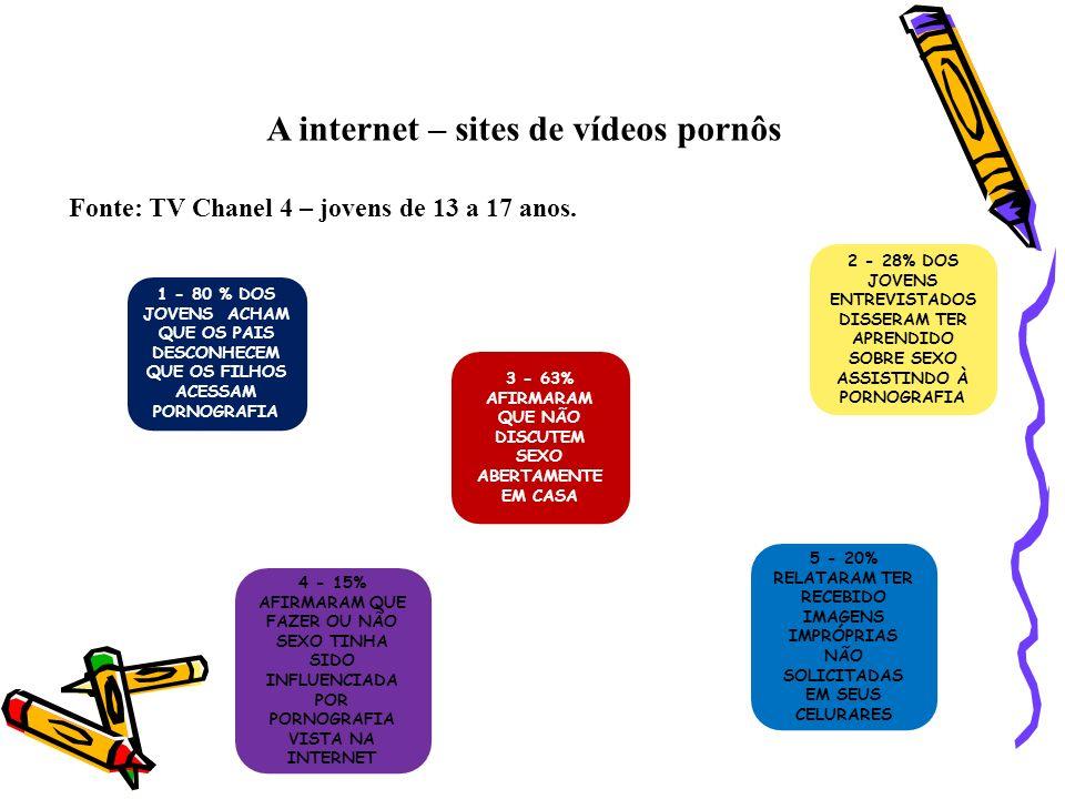 A internet – sites de vídeos pornôs Fonte: TV Chanel 4 – jovens de 13 a 17 anos. 1 - 80 % DOS JOVENS ACHAM QUE OS PAIS DESCONHECEM QUE OS FILHOS ACESS