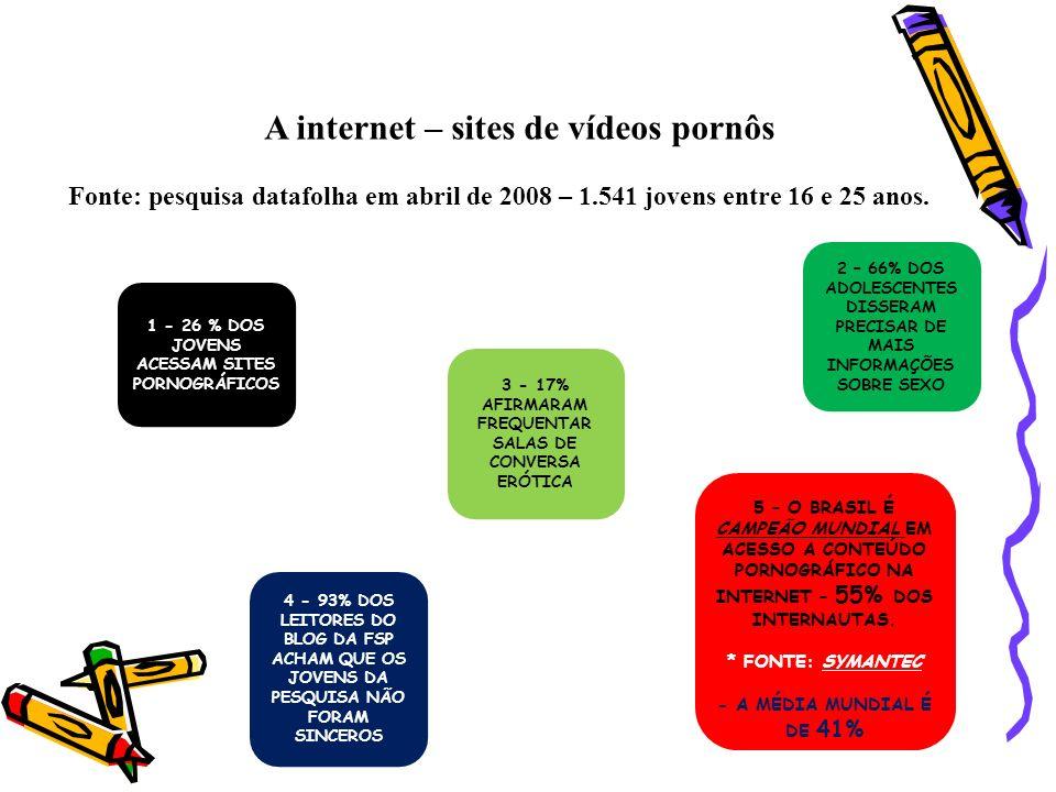A internet – sites de vídeos pornôs Fonte: pesquisa datafolha em abril de 2008 – 1.541 jovens entre 16 e 25 anos. 1 - 26 % DOS JOVENS ACESSAM SITES PO