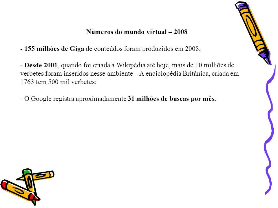 Números do mundo virtual – 2008 - 155 milhões de Giga de conteúdos foram produzidos em 2008; - Desde 2001, quando foi criada a Wikipédia até hoje, mai
