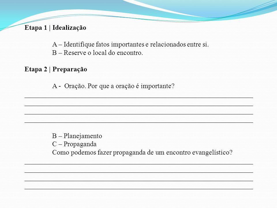 Etapa 1 | Idealização A – Identifique fatos importantes e relacionados entre si. B – Reserve o local do encontro. Etapa 2 | Preparação A - Oração. Por