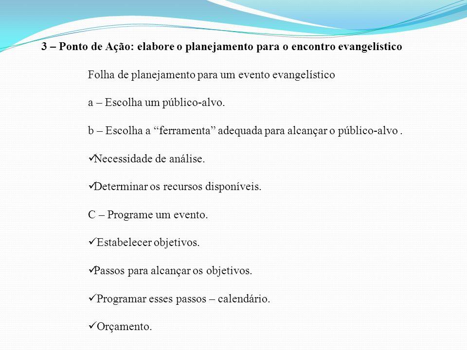 3 – Ponto de Ação: elabore o planejamento para o encontro evangelístico Folha de planejamento para um evento evangelístico a – Escolha um público-alvo