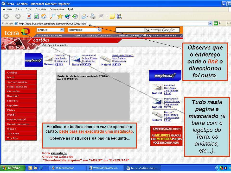 Passo 2 - Ao abrir o e-mail, ele orienta-o a clicar no link e ser redireccionado à página do site de cartões. Neste caso o fornecedor de serviços masc