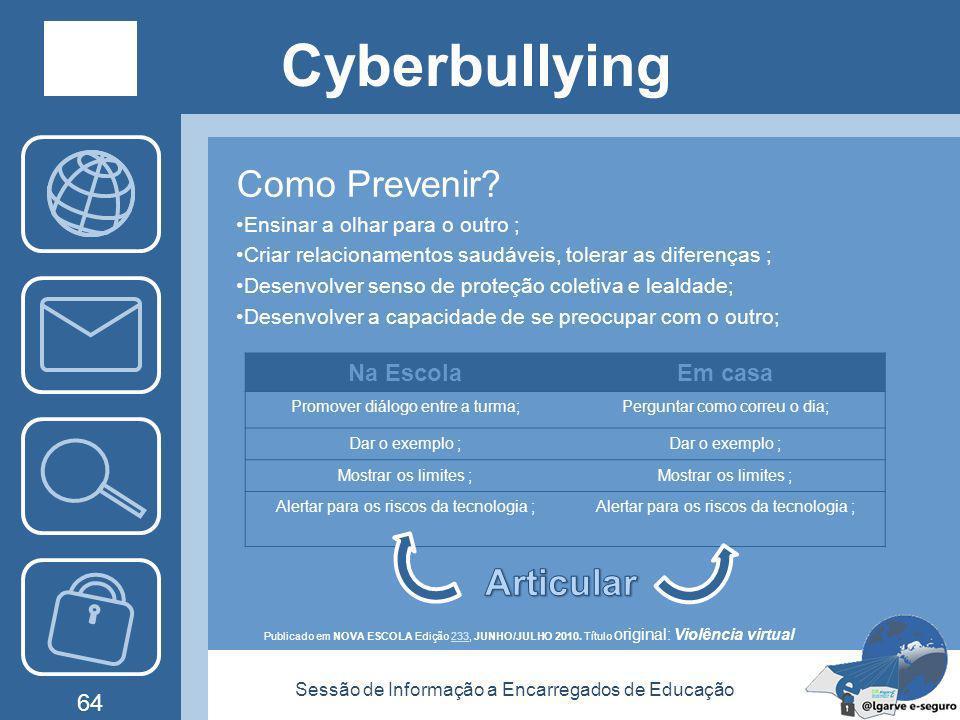 Sessão de Informação a Encarregados de Educação 63 Cyberbullying Como funciona? Publicado em NOVA ESCOLA Edição 233, JUNHO/JULHO 2010. Título original