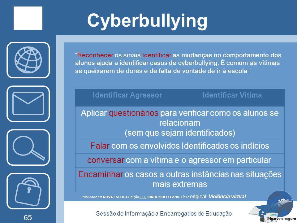 Sessão de Informação a Encarregados de Educação 64 Cyberbullying Como Prevenir? Ensinar a olhar para o outro ; Criar relacionamentos saudáveis, tolera