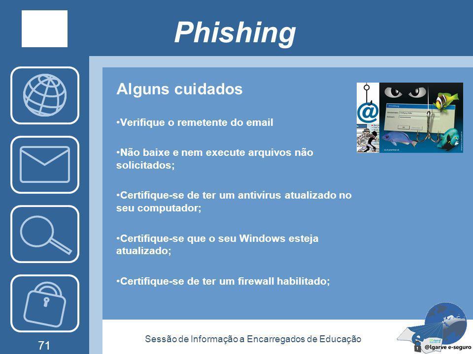 Sessão de Informação a Encarregados de Educação 70 Phishing Um Phishing pode ser realizado de diversas maneiras. As mais comuns são: Ataque ao Servido