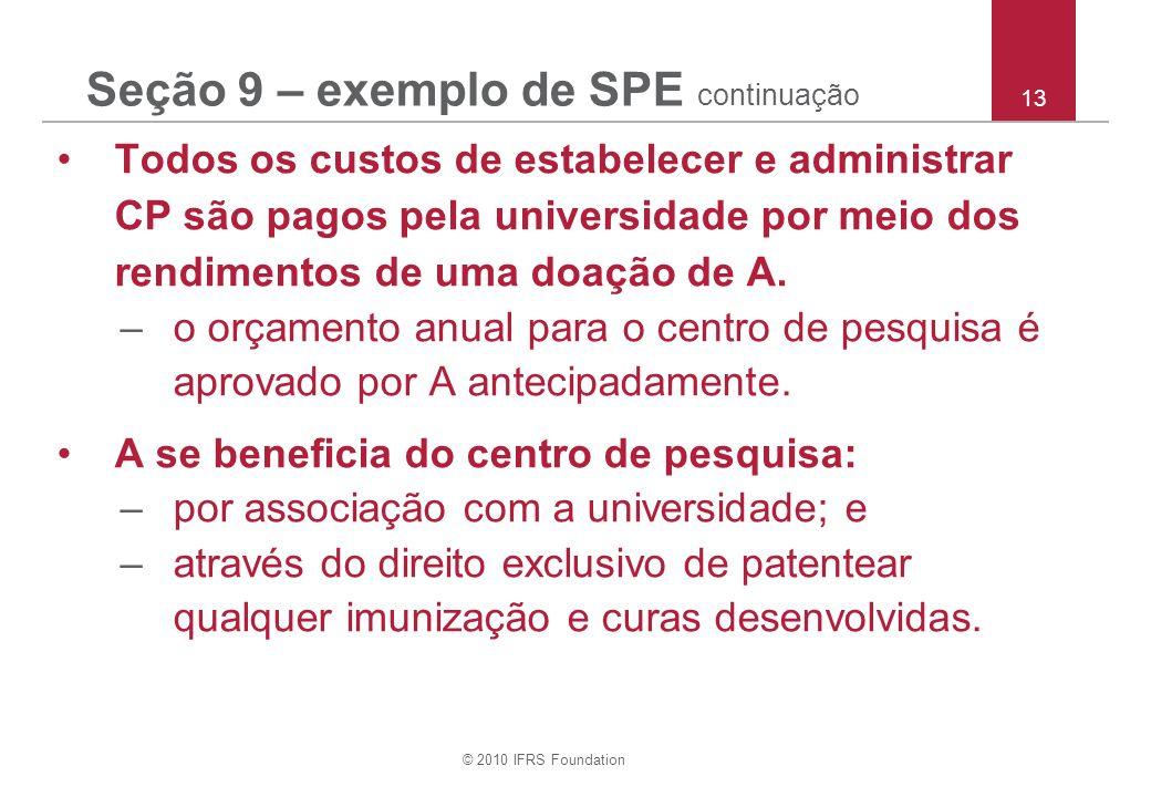 © 2010 IFRS Foundation 13 Seção 9 – exemplo de SPE continuação Todos os custos de estabelecer e administrar CP são pagos pela universidade por meio do