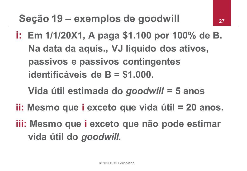 © 2010 IFRS Foundation Seção 19 – exemplos de goodwill i: Em 1/1/20X1, A paga $1.100 por 100% de B. Na data da aquis., VJ líquido dos ativos, passivos