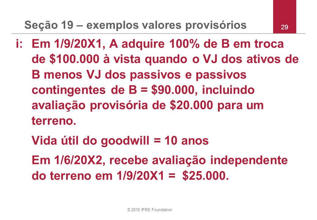 © 2010 IFRS Foundation Seção 19 – exemplos valores provisórios i: Em 1/9/20X1, A adquire 100% de B em troca de $100.000 à vista quando o VJ dos ativos