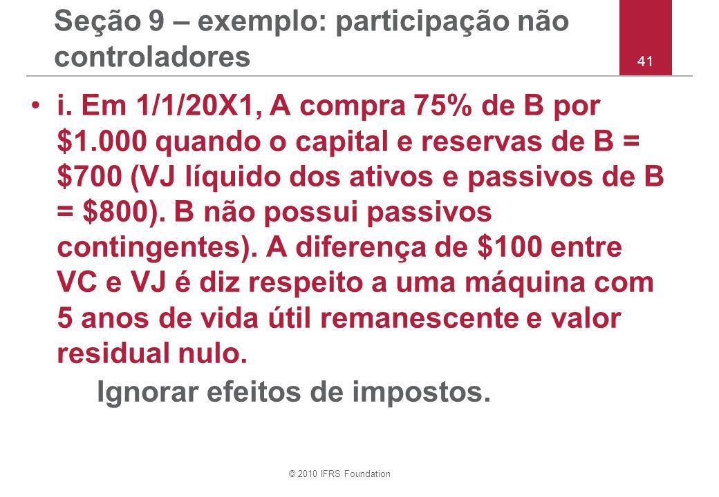 © 2010 IFRS Foundation 41 Seção 9 – exemplo: participação não controladores i. Em 1/1/20X1, A compra 75% de B por $1.000 quando o capital e reservas d