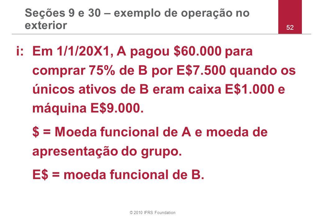 © 2010 IFRS Foundation Seções 9 e 30 – exemplo de operação no exterior i: Em 1/1/20X1, A pagou $60.000 para comprar 75% de B por E$7.500 quando os úni
