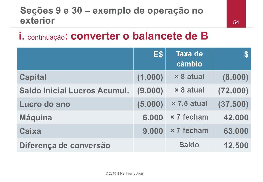 © 2010 IFRS Foundation Seções 9 e 30 – exemplo de operação no exterior i. continuação : converter o balancete de B 54 E$ Taxa de câmbio $ Capital(1.00