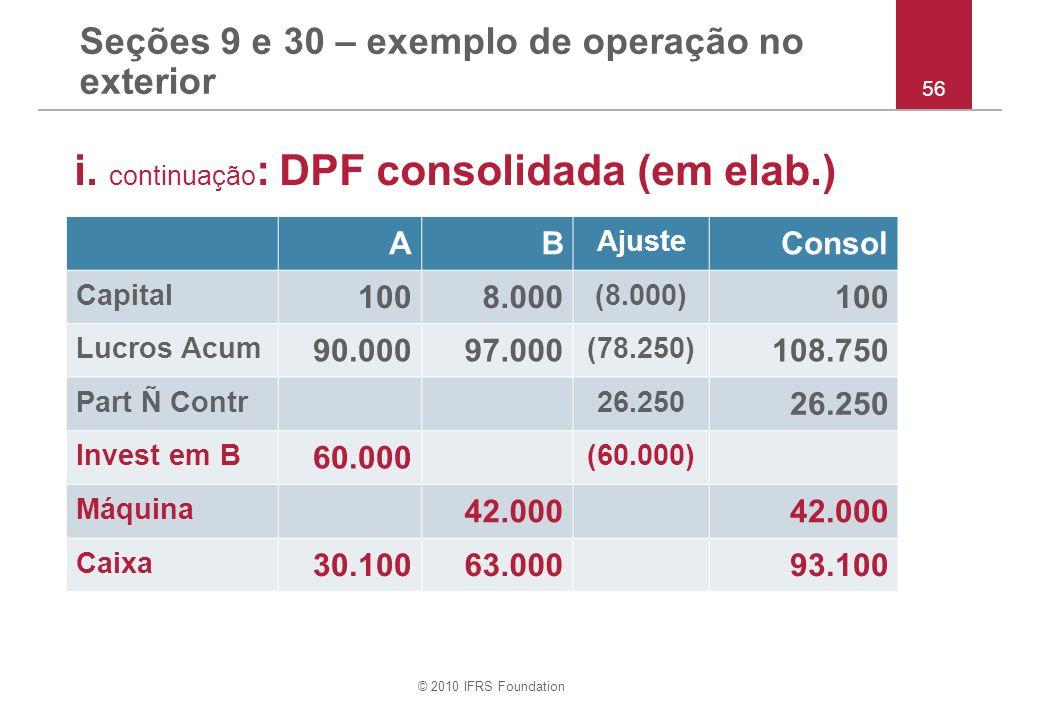 © 2010 IFRS Foundation Seções 9 e 30 – exemplo de operação no exterior i. continuação : DPF consolidada (em elab.) 56 AB Ajuste Consol Capital 1008.00
