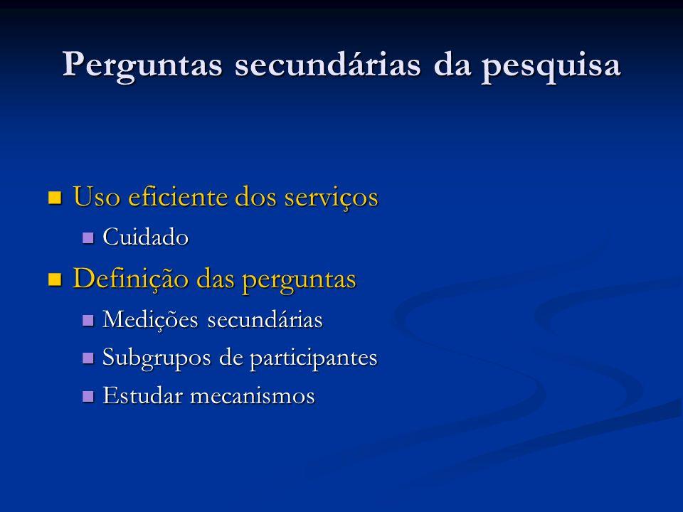 Perguntas secundárias da pesquisa Uso eficiente dos serviços Uso eficiente dos serviços Cuidado Cuidado Definição das perguntas Definição das pergunta