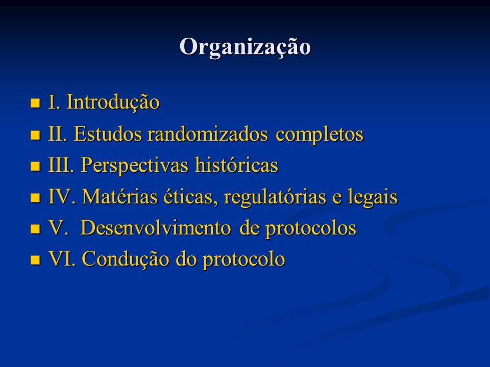 Organização I. Introdução I. Introdução II. Estudos randomizados completos II. Estudos randomizados completos III. Perspectivas históricas III. Perspe