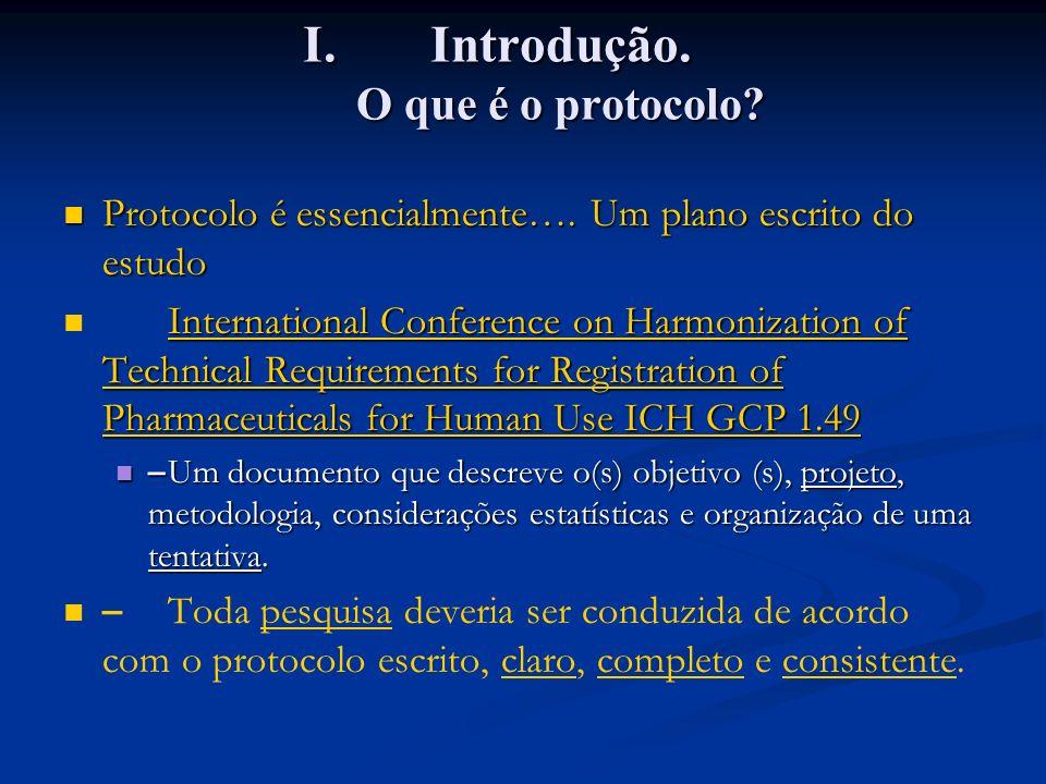 I.Introdução. O que é o protocolo? Protocolo é essencialmente…. Um plano escrito do estudo Protocolo é essencialmente…. Um plano escrito do estudo Int