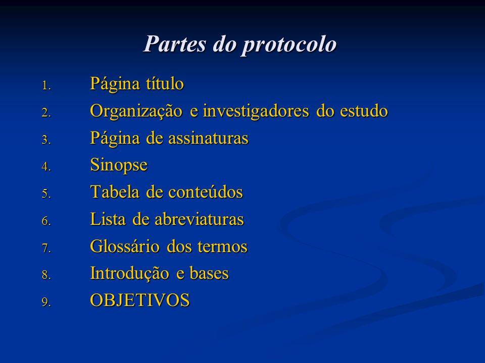 Partes do protocolo 1. Página título 2. Organização e investigadores do estudo 3. Página de assinaturas 4. Sinopse 5. Tabela de conteúdos 6. Lista de