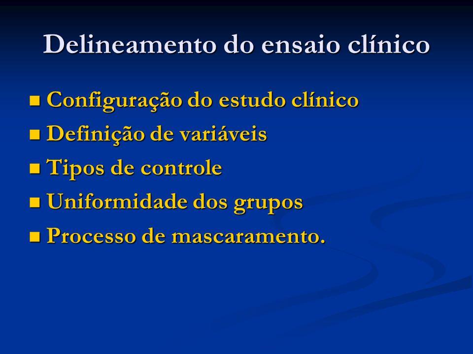 Delineamento do ensaio clínico Configuração do estudo clínico Configuração do estudo clínico Definição de variáveis Definição de variáveis Tipos de co