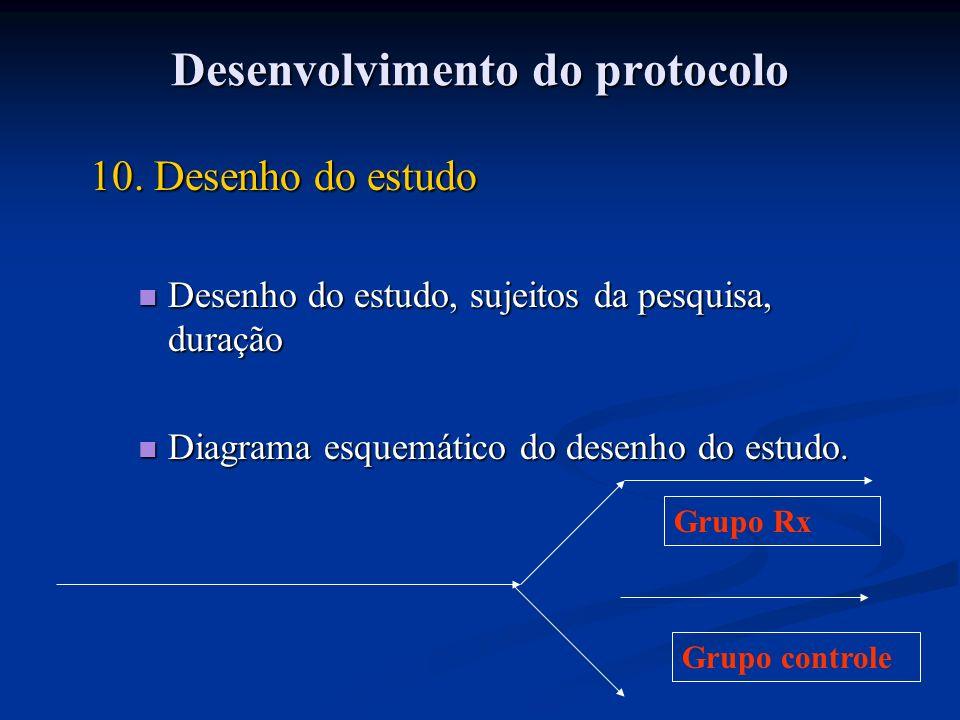 10. Desenho do estudo Desenho do estudo, sujeitos da pesquisa, duração Desenho do estudo, sujeitos da pesquisa, duração Diagrama esquemático do desenh