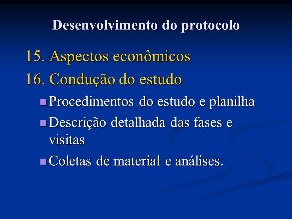 15. Aspectos econômicos 16. Condução do estudo Procedimentos do estudo e planilha Procedimentos do estudo e planilha Descrição detalhada das fases e v